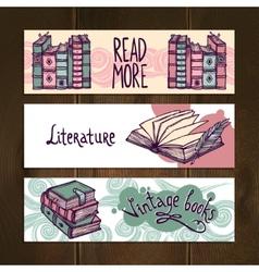 Retro Books Banner Set vector image vector image