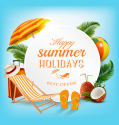 travel background with chair and coconut and palms vector image vector image
