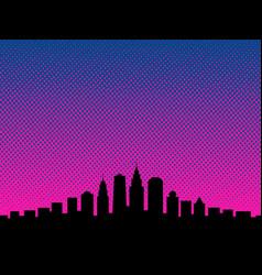 big city cartoon book style background vector image vector image