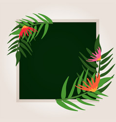 border template with green leaves on board vector image vector image