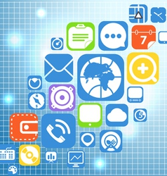 Flying color web graphic interface icons vector image vector image