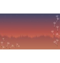 Landscape of spring with flying flower vector