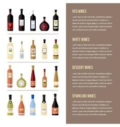 Set of different kinds wine bottles in flat vector image