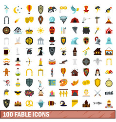 100 fable icons set flat style vector