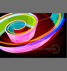 Abstract colorful swirling shape scene vector