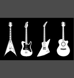 Acoustic and electric guitars white color vector