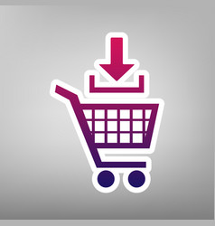 Add to shopping cart sign purple gradient vector