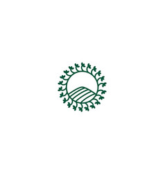 Agriculture circle simple with rounded leaf line vector