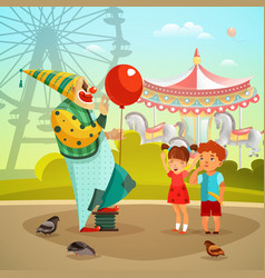 Amusement park circus clown flat vector