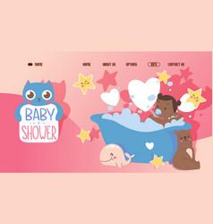 baby shower cute website template happy little vector image