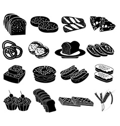 Bakery food icons set vector