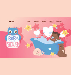 bashower cute website template happy little vector image