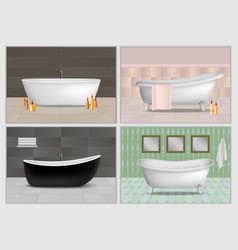 Bathtub interior mockup set realistic style vector