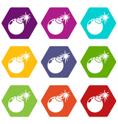 bomb icons set 9 vector image