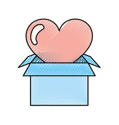 Box carton packing with heart vector