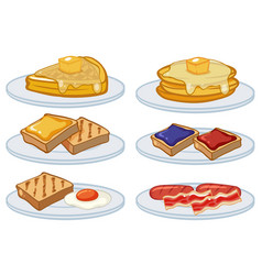 Breakfast menu on the plates vector