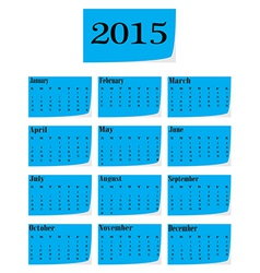 calendar for 2015 starts sunday vector image