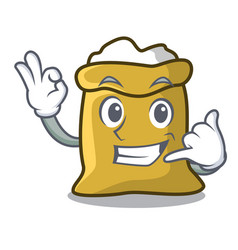 call me flour mascot cartoon style vector image