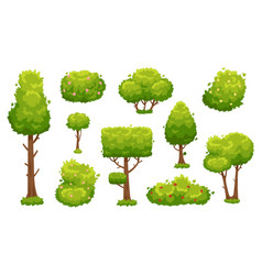cartoon trees and bushes green plants with vector image