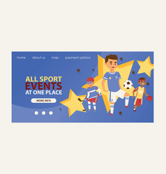 Child in sport web page boy or girl character vector