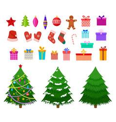 christmas flat elements santa hat gift boxes vector image