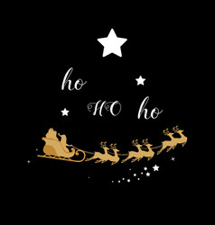 Christmas golden decoration santa sleigh reindeer vector