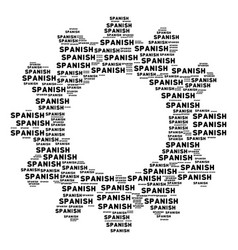 Cogwheel mosaic of spanish text icons vector