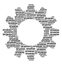 Cogwheel mosaic spanish text icons vector