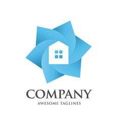 Color house hexagon logo vector