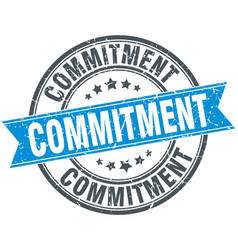 Commitment round grunge ribbon stamp vector