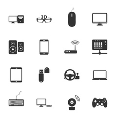 Computers peripherals and network devices black vector image