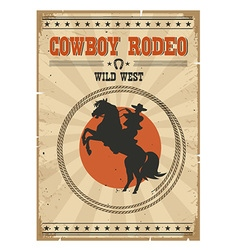 Cowboy riding wild horse Western vintage rodeo vector