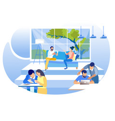 Creative shared coworking workplace flat banner vector
