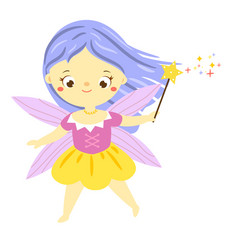 Cute fairy with magic wand garden elf little vector