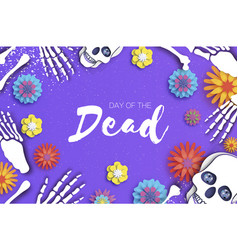 Day of the dead paper cut skull for mexican vector