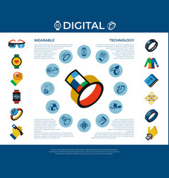 Digital wearable technology icons set vector
