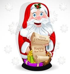 Doll matrioshka santa claus with gifts vector