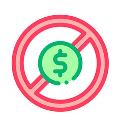 dollar banknote ban icon outline vector image