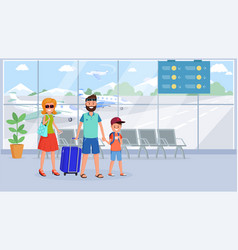 Family in airport terminal flat vector
