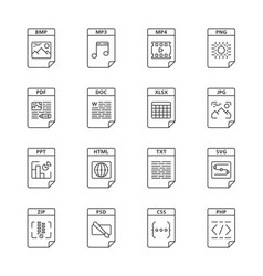 Files format linear icons set vector