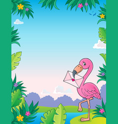 flamingo with love letter theme 3 vector image