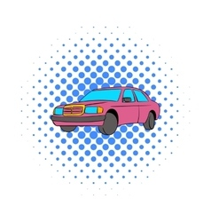German car icon comics style vector image