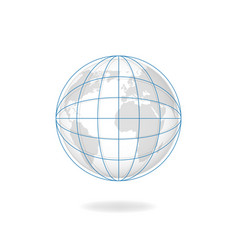 Globe meredians planet covered with blue vector