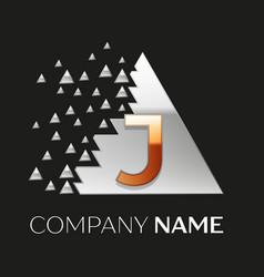 golden letter j logo in silver pixel triangle vector image