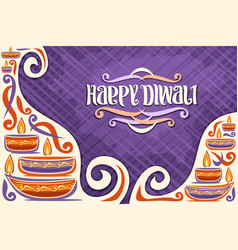 Greeting card for indian diwali vector