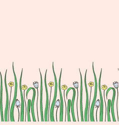 hand drawn grass with flowers vector image