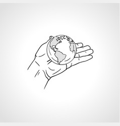 hands holding earth palm hold globe vector image