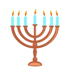 Hanukka menorah isolated on white vector image