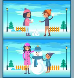 Happy boy and girl play snowballs makes snowman vector