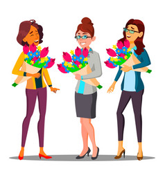happy business woman in office with bouquets of vector image